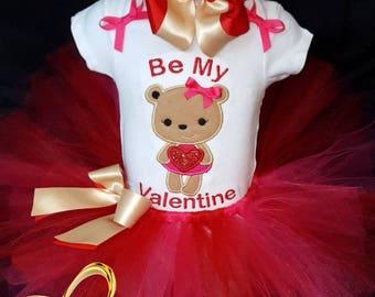 Valentine bear Tutu Set, valentine Tutu outfit, valentine Tutu, valentine Tutu dress, valentine dress, valentine Tutu skirt, bear tutu