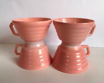 Hazel Atlas Moderntone Pink Platonite Tea Cups