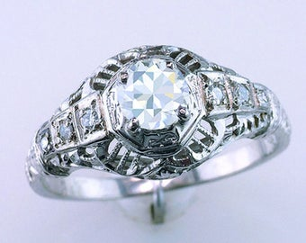 Antique Art Deco GIA Certified .55ct Diamond 18K White Gold Engagement Ring