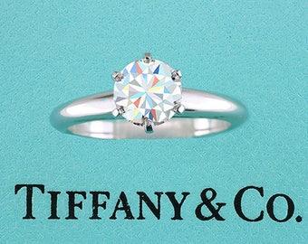 Tiffany & Co Diamond Solitaire Platinum Engagement Ring .99ct E-VVS2 XXX GIA