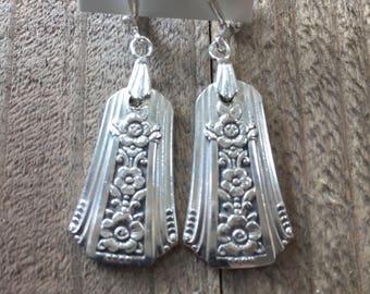 silverware earrings, spoon earrings, Fortune silverware, Fortune earrings, 1939 silverware, flower earrings, silver earrings, spoon jewelry