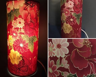 Lamp with Asian printed Burgundy Gold Green