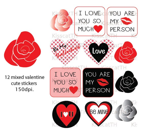 Love Theme Clipart Stickers Printable Graphics Icons PNG Digital Scrapbooking Valentine From KisscatTH On