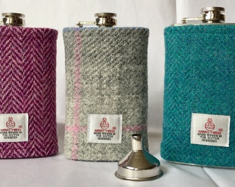 Harris Tweed Hip Flask - 6oz, with FREE funnel. Various colours. Fathers Day, Groomsman, Usher gift