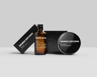 Beard Balm + Beard Oil, Conditioner, Facial Hair Care Pack by INFAMOUS GENTLEMAN