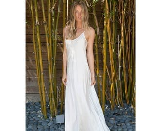 SALE 25% OFF Ivory silk slip bias dress
