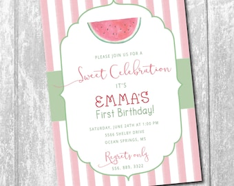 Watermelon Birthday Invitation printable/DIGITAL File/watercolor, girl birthday, sweet, pool party, swim party/Wording & age can be changed