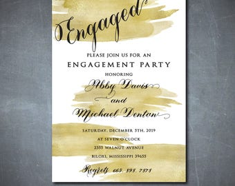 Gold Engagement Party Invitation printable/Digital File/Engagement Party Invitation, classic, calligraphy, engaged /Wording can be changed