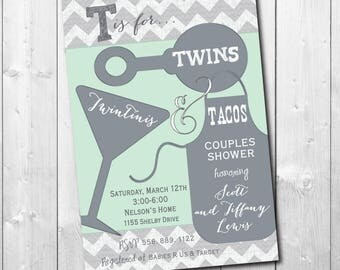 Twins Baby Shower invitation printable/wording & colors can be changed/mint,gray, couples, cookout, tacos, cocktails
