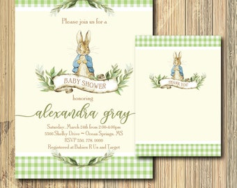 Peter Rabbit Invitation Baby Shower printable with Note/Digital File/Vintage Peter Rabbit, girl, boy ,beatrix potter/Wording can be changed
