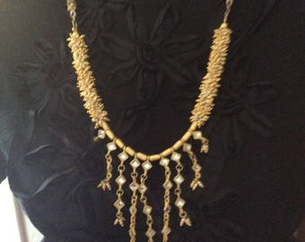 Vintage Necklace Gold Tone Handcraft