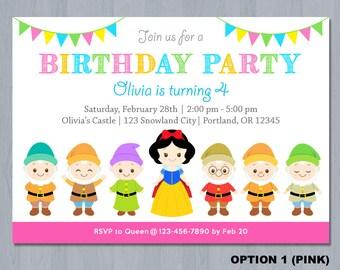 Snow White Invitation, Snow White Birthday Invitation, Snow White invitation printable, Snow White Invites, Snow white Party