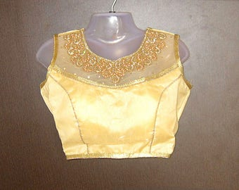 Indian Saree Blouse, Free size top, Golden embroidery, Bollywood Choli, Designer Blouse, part wear top,