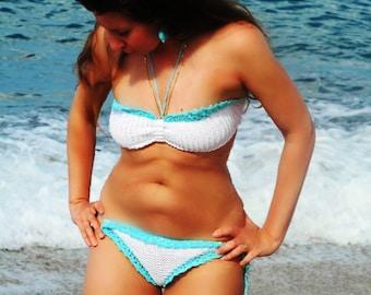 WHITE Crochet Bikini Set with Earrings. Knit bikini. Brazilian bikini. Brazilian bikini set.Bikini set.Crochet swimsuit.Crochet bikini