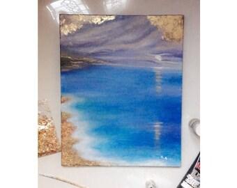 Gold Leaf Ocean Painting