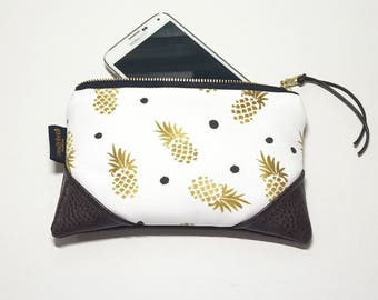 Mini Gold Pineapple w/Brown Accents Zipper Pouch / Clutch with inside lining and Zipper Pull or Leather Wristlet Strap