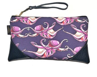 Large Tako (Octopus) Dance Zipper Pouch / Clutch with Zipper Pull or Leather Wristlet Strap