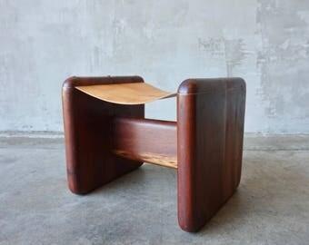 Craftsmen Made Wood & Leather Stool.