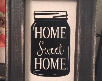 Rustic Home Sweet Home Mason Jar wood sign