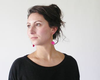 """Andalusian"" small model Fuchsia earrings"