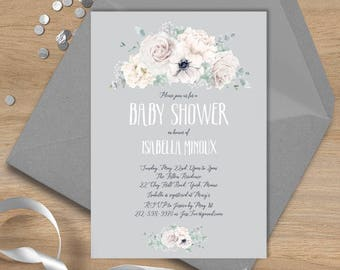 White flowers Baby Shower Invitation / White Rose, Anemone, Peony, Boho Greenery, Ivory Flower, Gray ▷ Printable File {or} Printed & Shipped