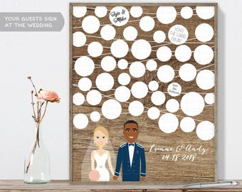 Boho Wedding Guest Book Portrait / Paper Lantern Rustic Wood Portrait Guestbook  Illustration ▷ Printable File {or} Printed & Shipped