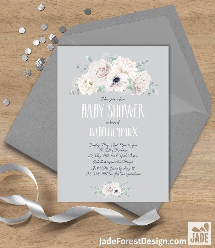 White flowers Baby Shower Invitation / White Rose, Anemone, Peony ...