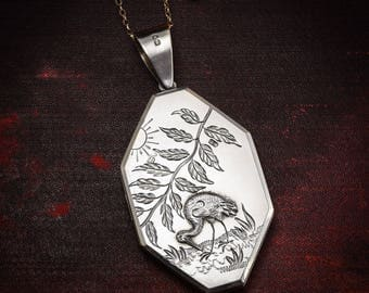 """Antique Victorian Aesthetic Movement """"Stork and Sun"""" Locket in Sterling Silver, c1880"""