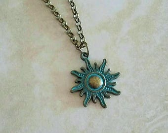 Patina Sun Charm Antique Bronze Chain Necklace 24 Inches