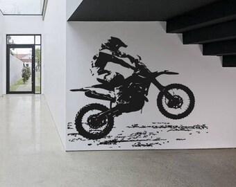 Wall Sticker Decal Motorcycle Dirt Bike Sport Motocross Chopper Ride  Children Guys Boys Bedroom 1610b Part 76