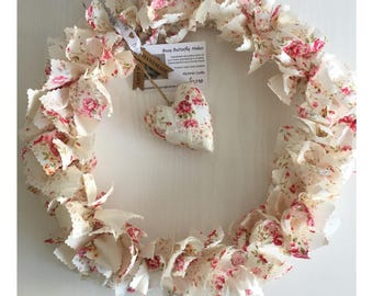 "Fabric Wreath, 14"" Wreath, Wreath, Floral Fabric, Rose Fabric, Cream Fabric, Door Decor, Home Decor, Fabric Tied Wreath,"