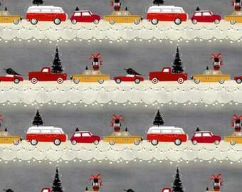 Around Town Christmas by Studio E - Cars Stripe - Cotton Woven Fabric