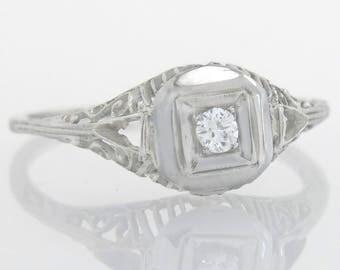 Antique Estate .05ct Genuine Diamond 18K White Gold Art Deco Engagement Ring