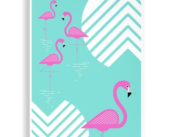 Retro Flamingo Print