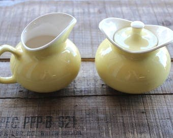 Vintage Mid Century Canary Yellow Sugar Bowl and Creamer Pitcher Set USA Pottery