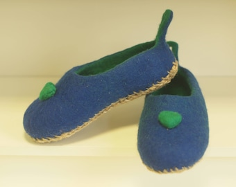 Natural felted wool slippers. Home shoes. Woman slippers