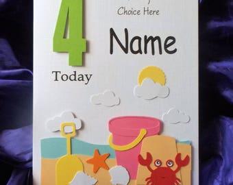 Personalised Handmade 1st, 2nd Any Age Seaside, Beach Birthday Card... Daughter, Granddaughter, Niece, Sister etc.