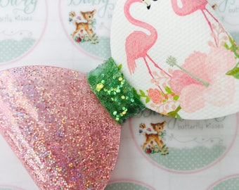 Pink Glitter Vinyl Fabric Flamingo Bows  -Hairbows-Hairbands-Bows-Girls Hairbow