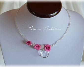 Silver plated wire, Bridal pink cold porcelain - wedding, silver necklace, silver and pink bridal wire wire jewelry necklace