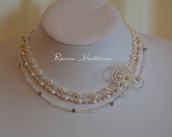 Bridal white pearls and rose gold, crystals of Swarovski crystals - wedding jewelry, rose gold necklace, pearly necklace, bridal necklace