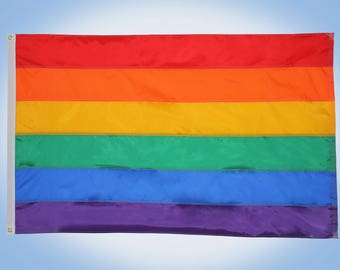 Rainbow Pride Flag -2' x 3' - Pride Flag - Hand Sewn Nylon - Made in USA - Custom Sizes Available