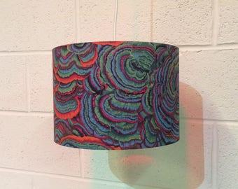 Beautifully handmade drum lampshade in Kaffe Fassett 'Tree Fungi' fabric