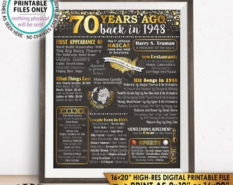 "70 Years ago Back in 1948 Flashback to 1948 Poster, 1948 History, Birthday, Anniversary, Gold, Chalkboard Style PRINTABLE 16x20"" Sign <ID>"