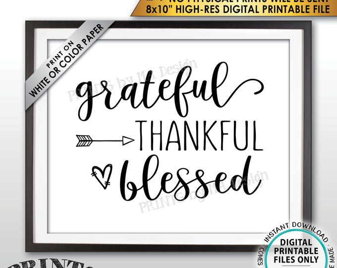"""Grateful Thankful Blessed Sign, Thanksgiving Wall Decor, Fall Decor Blessing Sign, Autumn Decor, PRINTABLE 8x10"""" Instant Download Sign"""