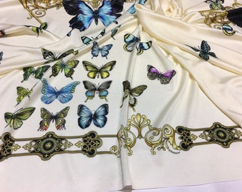Viscose Jersey fabric panel for dress 0,98 m / 1,07 yd... Made in Italy, butterfly print, stretch jersey viscose