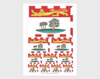 PEI Flag Weatherproof Sticker Sheet / 10 Prince Edward Island Provincial Flag Stickers Various Sizes