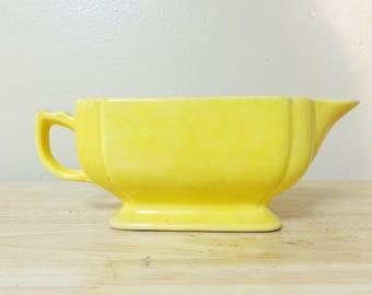 Vintage Yellow Homer Laughlin Riviera Creamer, Sauce Gravy Boat, Milk Pitcher, Ceramic Fiestaware, Art Deco Style
