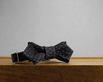 Luxury Dog or Cat Bow Tie - The NASH // Contemporary (Charcoal Denim Pin Dot)