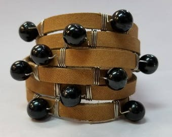 Handmade Leather Wrap   Beaded Bracelet