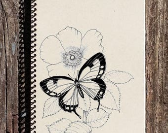 SALE - Butterfly Notebook - Butterfly Journal - Butterfly on a Flower - Gift for Butterfly Lover - Mothers Day Gift